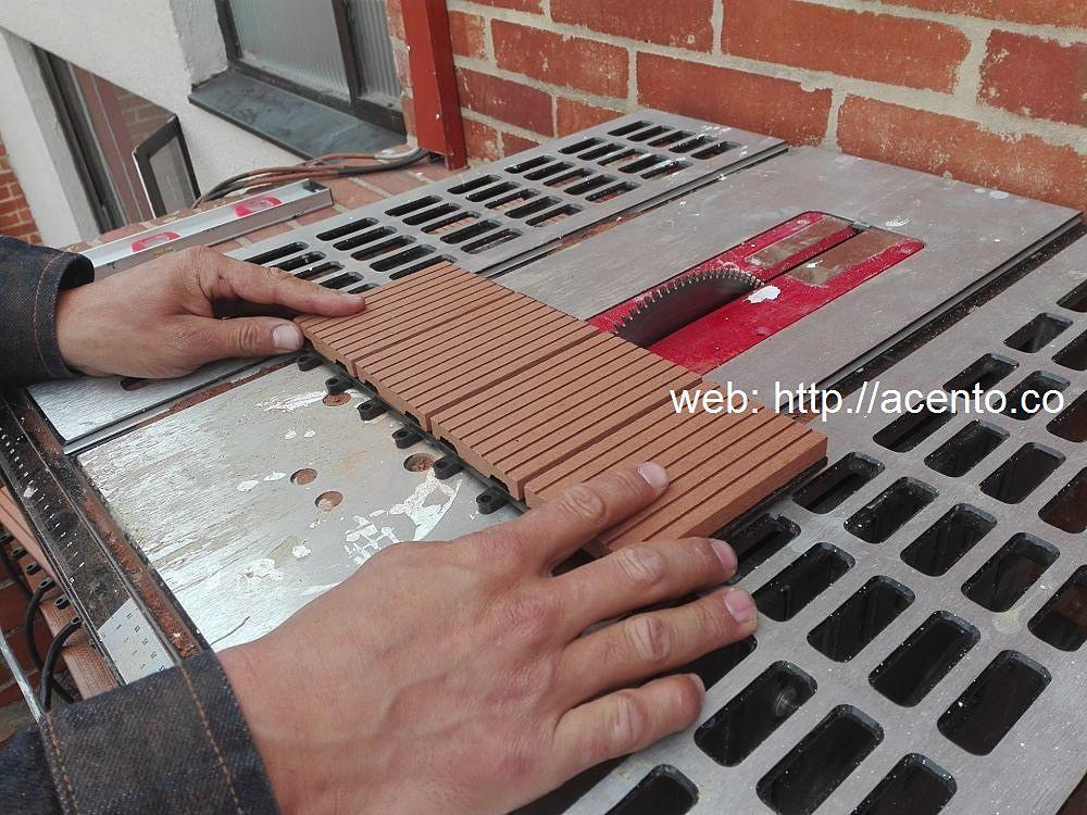 Maquina cortadora Piso deck tableta 30x30 obra calle 142 Bogotá Acento Suministros