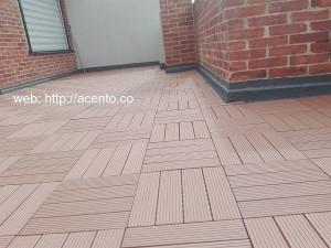 Proceso de montaje Piso Deck tableta en madera Sintetico wpc tableta Remates en muro calle 142 Bogotá Acento Suministros