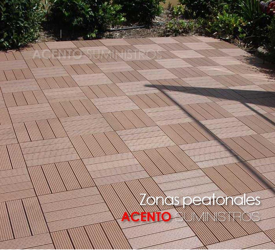 Piso deck tableta madera sintética áreas peatonales exteriores