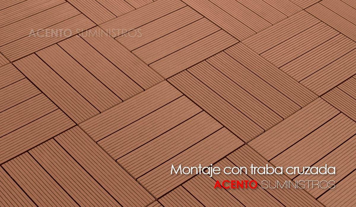 Piso deck tableta madera plástica montaje con traba cruzada ACENTO SUMINISTROS