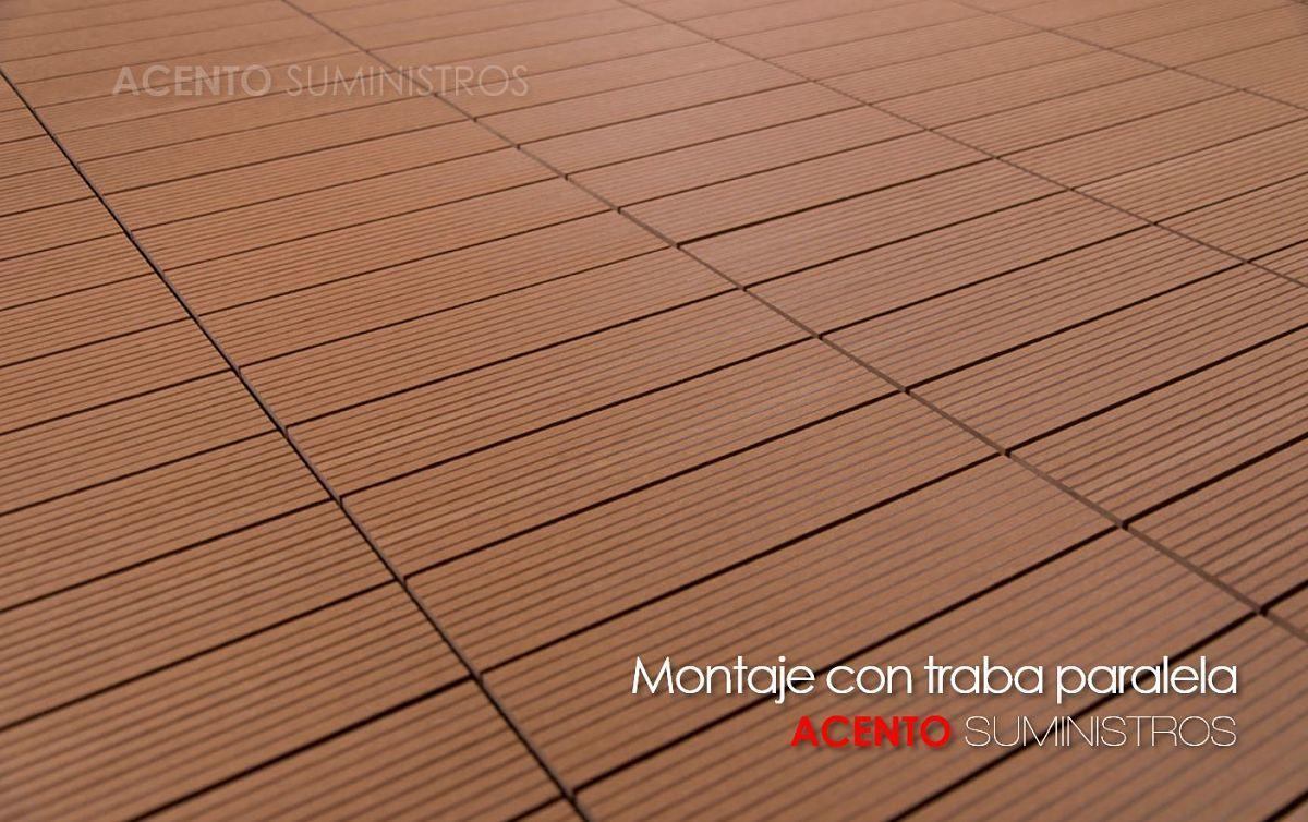 Piso deck tableta wpc sintético montaje con traba paralela