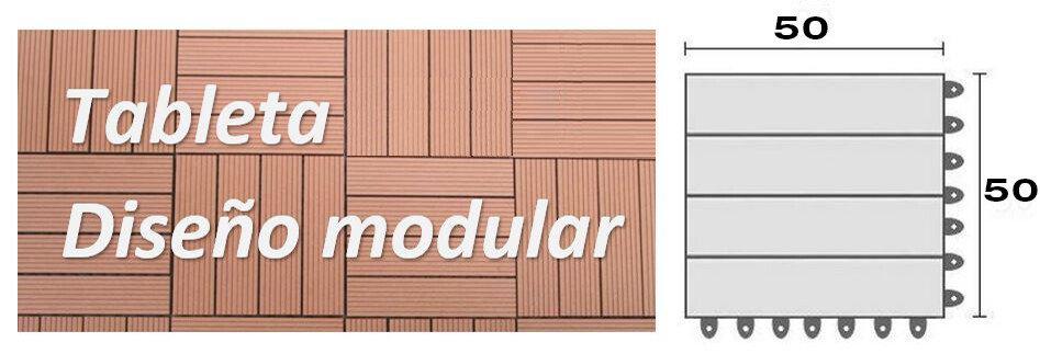 PISO DECK TABLETA diseño modular de 50x50